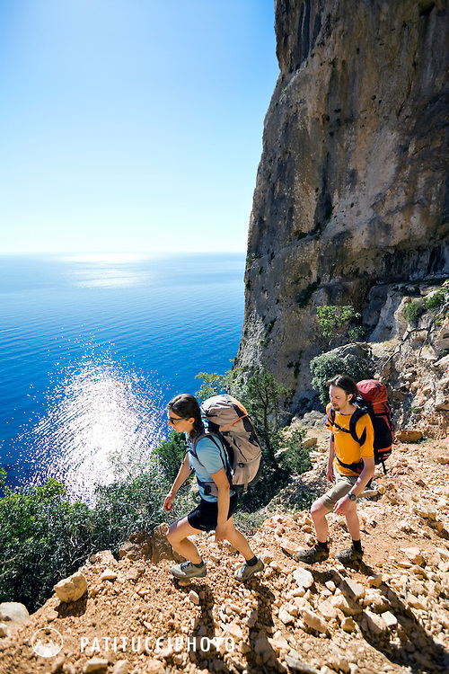 Tim Neville and Janine Patitucci hiking Sardinia's most famous hike, the Selvaggio Blu, known as Italy's most remote hike