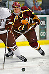 3 January 2009: Ferris State Bulldogs' right wing forward Justin Lewandowski, a Senior from Naperville, IL, in action against the Colgate Raiders during the consolation game of the 2009 Catamount Cup Ice Hockey Tournament hosted by the University of Vermont at Gutterson Fieldhouse in Burlington, Vermont. The two teams battled to a 3-3 draw, with the Bulldogs winning a post-game shootout 2-1, thus placing them third in the tournament...Mandatory Photo Credit: Ed Wolfstein Photo