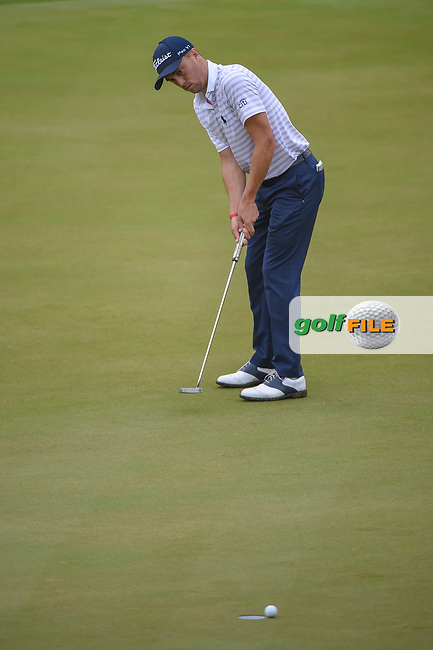 Justin Thomas (USA) watches his putt on 2 during day 5 of the World Golf Championships, Dell Match Play, Austin Country Club, Austin, Texas. 3/25/2018.<br /> Picture: Golffile | Ken Murray<br /> <br /> <br /> All photo usage must carry mandatory copyright credit (© Golffile | Ken Murray)