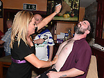 Danny Harmon who had his legs and chest waxed by Sharon Gregory to raise money for the Chance For Alice fund in the Dunleer Inn.  Photo:Colin Bell/pressphotos.ie
