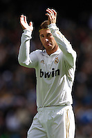29.04.2012 SPAIN -  La Liga matchday 36th  match played between Real Madrid CF vs Sevilla Futbol Club (3-0) at Santiago Bernabeu stadium. The picture show Sergio Ramos (Spanish defender of Real Madrid)