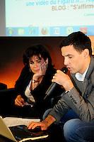 Anne Sinclair direttrice editoriale della versione francese e Paul Ackermann redattore capo.Parigi 23/1/2012 .Presentazione della versione francese del sito Huffington Post.Foto Insidefoto / Anthony Ghnassia / Panoramic
