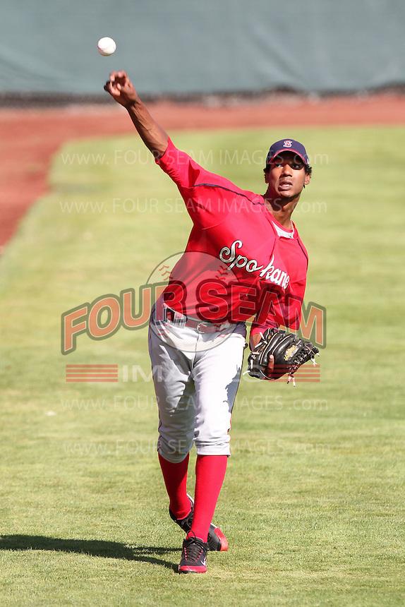 Spokane Indians pitcher David Perez #30 before a game against the Salem-Keizer Volcanoes at Volcanoes Stadium on August 10, 2011 in Salem-Keizer,Oregon. Salem-Keizer defeated Spokane 7-6.(Larry Goren/Four Seam Images)