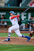Romer Cuadrado (17) of the Ogden Raptors bats against the Great Falls Voyagers at Lindquist Field on September 14, 2017 in Ogden, Utah. The Raptors defeated the Voyagers 7-4 in Game One of the Pioneer League Championship. (Stephen Smith/Four Seam Images)