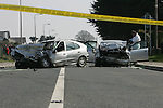 the remains of the Silver Audi A4 and the Silver Renault Megan where the 64 year old driver of the Megan and a 17 year old passanger of the Audi Died on the R173 at Annaloughan, Co. Louth. A second passenger from the Audi a female back seat passenger who is presently critical in Our Lady of Lourdes Hospital Drogheda..Photo: Fran Caffrey/ Newsfile.