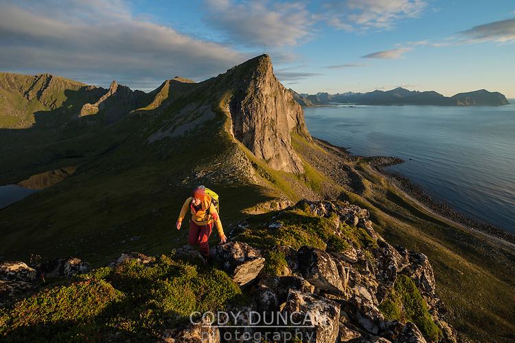 Female hiker ascending ridge near summit of Hornet mountain peak, Flakstadøy, Lofoten Islands, Norway