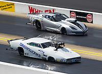 Sep 17, 2016; Concord, NC, USA; NHRA pro mod driver Chip King (near) races alongside Bob Rahaim during qualifying for the Carolina Nationals at zMax Dragway. Mandatory Credit: Mark J. Rebilas-USA TODAY Sports