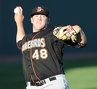 RHP Matt Hobgood (48) of the Delmarva Shorebirds, Class A affiliate of the Baltimore Orioles, prior to his first Class A start against the Greenville Drive April 10, 2010, at Fluor Field at the West End in Greenville, S.C. Hobgood was the Orioles' No. 1 pick (fifth overall) in the 2009 First-Year Player Draft. Photo by: Tom Priddy/MiLB.com