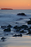 Moonset over Molokini <br />   from Oneloa Beach<br /> Ahihi Bay<br /> Island of Maui, Hawaii