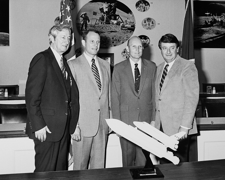 Rep. Don Fuqua, D-Fla. and space shuttle astronauts in 1975. (Photo by Sal LaCapria/CQ Roll Call)