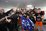 Sheffield United's players celebrate promotion during the League One match at the Sixfields Stadium, Northampton. Picture date: April 8th, 2017. Pic Simon Bellis/Sportimage