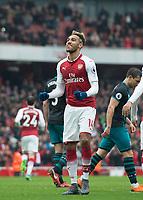 Arsenal's Pierre - Emerick Aubameyang celebrating his goal during the EPL - Premier League match between Arsenal and Southampton at the Emirates Stadium, London, England on 8 April 2018. Photo by Andrew Aleksiejczuk / PRiME Media Images.