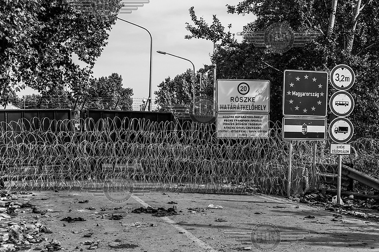 Razor wire at the border between Horgos, Serbia and Roszke, Hungary which remains closed after Hungarian authorities closed the crossing.