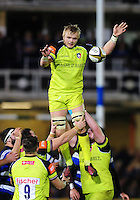 Luke Hamilton of Leicester Tigers wins the ball at a lineout. Anglo-Welsh Cup match, between Bath Rugby and Leicester Tigers on November 4, 2016 at the Recreation Ground in Bath, England. Photo by: Patrick Khachfe / Onside Images