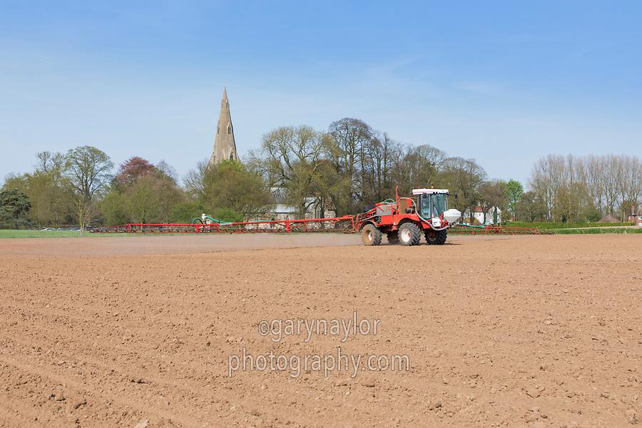 Spraying pre emergence herbicide onto sugar beet - Lincolnshire, April