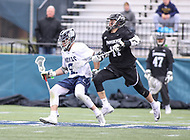 Washington, DC - April 7, 2018: Georgetown Hoyas Peter Tagliaferri (2) tries to hold off Providence Friars Tim Hinrichs (17) during game between Providence and Georgetown at  Cooper Field in Washington, DC.   (Photo by Elliott Brown/Media Images International)
