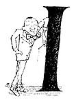 "Noel Coward leaning on a letter ""I"""