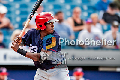 22 July 2018: Louisville Bats outfielder Gabriel Guerrero in action against the Syracuse SkyChiefs at NBT Bank Stadium in Syracuse, NY. The Bats defeated the Chiefs 3-1 in AAA International League play. Mandatory Credit: Ed Wolfstein Photo *** RAW (NEF) Image File Available ***