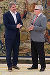 King Felipe VI of Spain receive in Royal Audience to Secretary General of CCOO, Unai Sordo Calvo (L) and previous Secretary General of CCOO, Ignacio Fernandez Toxo (R) at Zarzuela Palace in Madrid, July 24, 2017. Spain.<br /> (ALTERPHOTOS/BorjaB.Hojas)