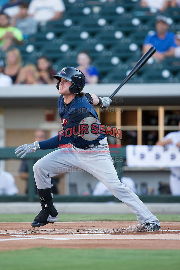 Ben Gamel (6) of the Scranton/Wilkes-Barre RailRiders follows through on his swing against the Charlotte Knights at BB&T BallPark on July 20, 2016 in Charlotte, North Carolina.  The RailRiders defeated the Knights 14-2.  (Brian Westerholt/Four Seam Images)