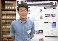 "Jerry Wong presents his work on ""The Equitable and Sustainable Alternative: Bringing Back the Invisible Drinking Fountain."" After researching all summer, Occidental College students present their work at the annual Summer Undergraduate Research Conference on July 29, 2015.<br /> (Photo by Marc Campos, Occidental College Photographer)"