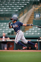 GCL Braves Wiston Cerrato (13) bats during a Gulf Coast League game against the GCL Orioles on August 5, 2019 at Ed Smith Stadium in Sarasota, Florida.  GCL Orioles defeated the GCL Braves 4-3 in the first game of a doubleheader.  (Mike Janes/Four Seam Images)