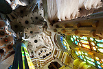 Interior of the Gaudi designed cathedral La Sagrada Familia in Barcelona, Spain <br />