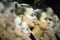 Silver Ferns captain Katrina Grant (centre) sings the national anthem with her teammates before the Quad Series netball match between the New Zealand Silver Ferns and England Roses at Trusts Stadium, Auckland, New Zealand on Wednesday, 30 August 2017. Photo: Dave Lintott / lintottphoto.co.nz