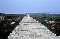 View from the top of the Pont du Gard aqueduct, Nimes, France