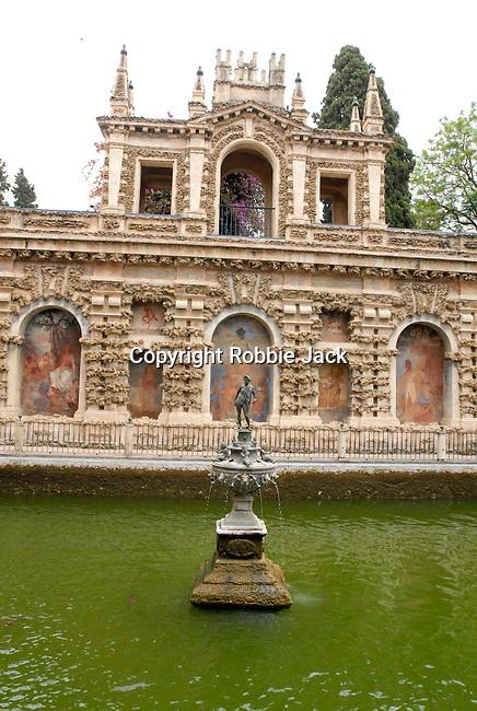 Jardin del Estanque in El Alcazar in Seville, Spain.