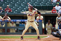 Tyler Holton (14) of the Florida State Seminoles at bat against the North Carolina Tar Heels in the 2017 ACC Baseball Championship Game at Louisville Slugger Field on May 28, 2017 in Louisville, Kentucky. The Seminoles defeated the Tar Heels 7-3. (Brian Westerholt/Four Seam Images)