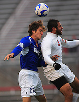 Xavier Balc (#3 OSU) and C.J. Cintas (#27 UCSB) collide while attacking the ball during the 3rd round of the 2007 NCAA Collage Cup. OSU upset the defending national champions 4-3 in double overtime.