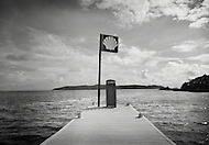 A fuel station on the end of a pier in the waters of the British Virgin Islands