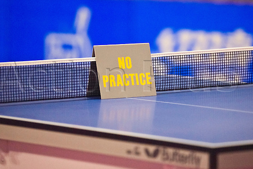 29.01.2011 English Open ITTF Pro Tour Table Tennis from the EIS in Sheffield. The match table before the game
