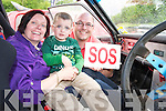 Mary, Liam and Tony Heffernan, pictured in one of the rally cars on show at the Bee For Battens Awareness Day festivities in The Kerry Way bar, Glenflesk on Saturday...................