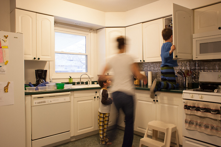 Once I switch into parenting mode it is a full-court press until bedtime. Here my older son is getting a snack and I am telling him to get down from the counter.