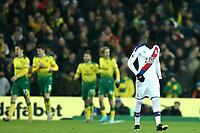 1st January 2020; Carrow Road, Norwich, Norfolk, England, English Premier League Football, Norwich versus Crystal Palace; A dejected Wilfried Zaha of Crystal Palace after Todd Cantwell of Norwich City scores for 1-0 in the 4th minute - Strictly Editorial Use Only. No use with unauthorized audio, video, data, fixture lists, club/league logos or 'live' services. Online in-match use limited to 120 images, no video emulation. No use in betting, games or single club/league/player publications