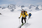 Climbing toward the Col Nord des Portons enroute to the Vignettes Hut on the Haute Route, Switzerland.
