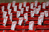 Banners at the home end on the seats of the Charlton fans to hold up as the players walk onto the pitch ahead of kick-off during Charlton Athletic vs Doncaster Rovers, Sky Bet EFL League 1 Play-Off Football at The Valley on 17th May 2019