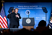 United States President Donald J. Trump hugs White House Opportunity and Revitalization Council Executive Director Scott Turner as they deliver remarks at the 2019 National Historically Black Colleges and Universities Week Conference at the Renaissance Hotel in Washington, DC on Tuesday, September 10, 2019.<br /> Credit: Kevin Dietsch / Pool via CNP