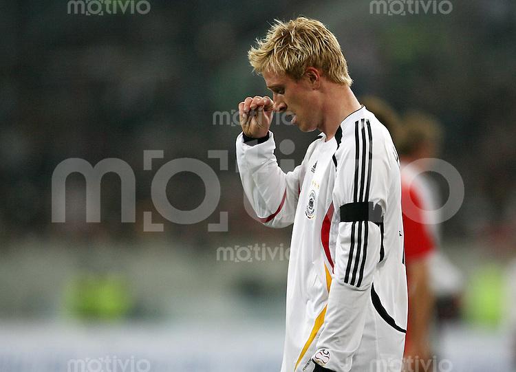 Fussball International Testlaenderspiel  Deutschland - Schweiz Mike HANKE (GER) enttaeuscht nach einer vergebenen Torchance.