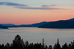 The narrow neck of Lake Coeur D Alene looking south. Lake Coeur D Alene extends south approximately 25 miles. Arrow point is center left and the North Cape center right. From Potlatch Hill, Coeur D Alene, Idaho, USA