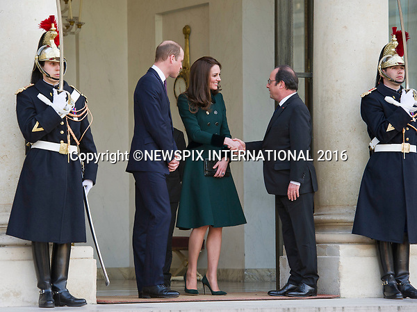 17.03.2017; Paris, FRANCE: DUKE &amp; DUCHESS OF CAMBRIDGE <br />visit the Elysee Palais at the start of their two-day official trip to Paris.<br />During the visit the couple met with French President Francois Hollande.<br />Mandatory Photo Credit: &copy;Francis Dias/NEWSPIX INTERNATIONAL<br /><br />IMMEDIATE CONFIRMATION OF USAGE REQUIRED:<br />Newspix International, 31 Chinnery Hill, Bishop's Stortford, ENGLAND CM23 3PS<br />Tel:+441279 324672  ; Fax: +441279656877<br />Mobile:  07775681153<br />e-mail: info@newspixinternational.co.uk<br />Usage Implies Acceptance of OUr Terms &amp; Conditions<br />Please refer to usage terms. All Fees Payable To Newspix International