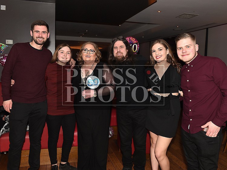 Anne Murtagh celebrating her 50th birthday in Brú with husband Brian, and family Cormac, Aisling, Aoife and Conor. Photo:Colin Bell/pressphotos.ie