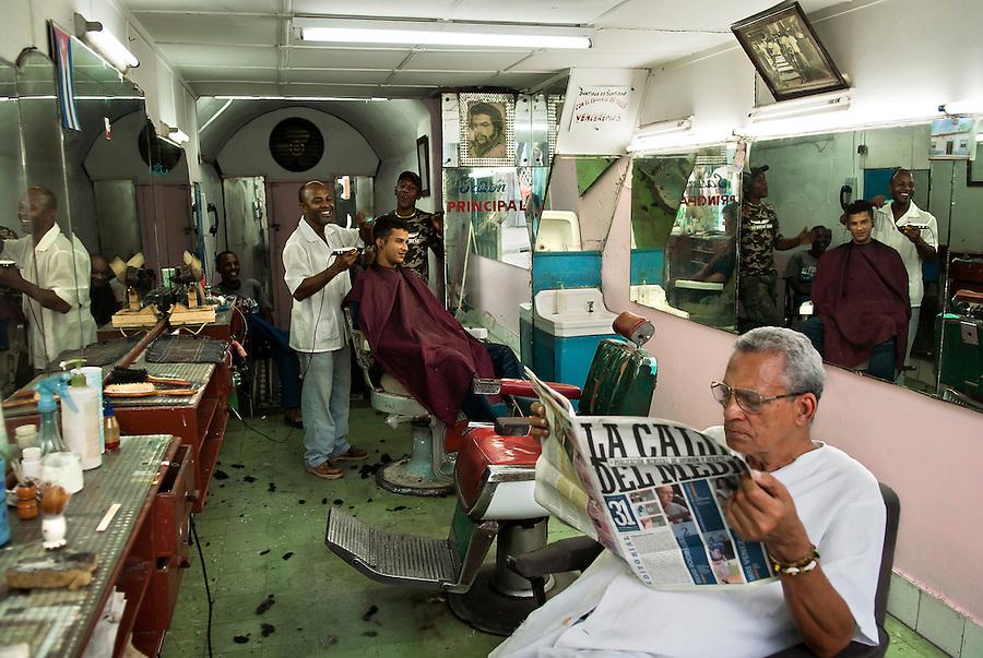 A local barber shop in Santiago de Cuba.