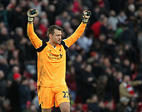 Liverpool's Simon Mignolet celebrates at the final whistle<br /> <br /> Photographer Rich Linley/CameraSport<br /> <br /> The Premier League - Liverpool v Burnley - Sunday 12 March 2017 - Anfield - Liverpool<br /> <br /> World Copyright &copy; 2017 CameraSport. All rights reserved. 43 Linden Ave. Countesthorpe. Leicester. England. LE8 5PG - Tel: +44 (0) 116 277 4147 - admin@camerasport.com - www.camerasport.com