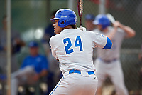 Central Connecticut State Blue Devils first baseman TT Bowens (24) at bat during a game against the North Dakota State Bison on February 23, 2018 at North Charlotte Regional Park in Port Charlotte, Florida.  North Dakota State defeated Connecticut State 2-0.  (Mike Janes/Four Seam Images)