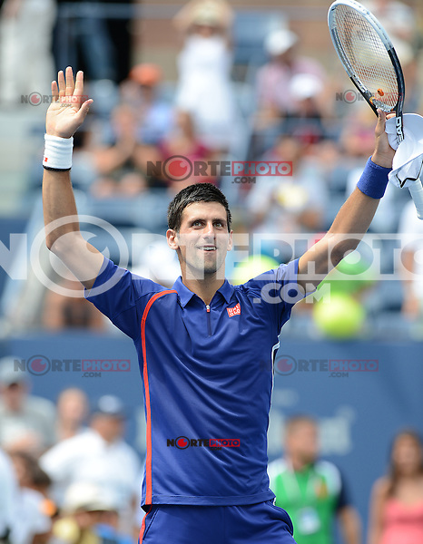 FLUSHING NY- SEPTEMBER 2: Novak Jokovic Vs Julien Benneteau on Arthur Ashe stadium at the USTA Billie Jean King National Tennis Center on September 2, 2012 in in Flushing Queens. Credit: mpi04/MediaPunch Inc. ***NO NY NEWSPAPERS*** /NortePhoto.com<br />