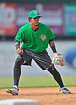 17 July 2013: Vermont Lake Monsters third baseman Luis Baez warms up prior to a game against the Aberdeen Ironbirds at Centennial Field in Burlington, Vermont. The Lake Monsters fell to the Ironbirds 5-1 in NY Penn League action. Mandatory Credit: Ed Wolfstein Photo