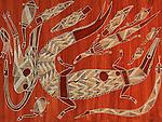 Peintures aborigènes représentant le crocodile. Arnhem land,  communauté d'Oenpelli (Gunbalanya)...Australie. Territoires du Nord. Région de Darwin. Crocodile